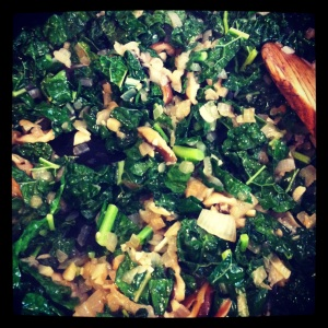 kale shiitake mushrooms