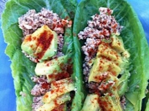 Salmonberry spread on romaine leaves topped with avocado, lemon, and cayenne.