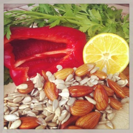 Soaked almonds and sunflower seeds, red pepper, parsley, lemon.