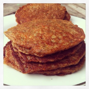 carrot-coconut pancake stack