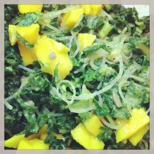 kelp, kale, mango salad