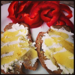 peppers, goat cheese, bread