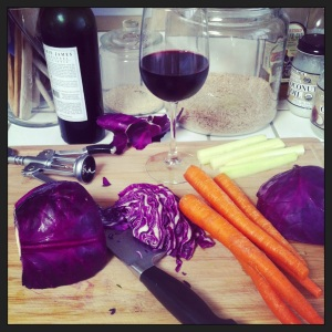 wine, cabbage, carrots