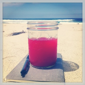 watermelon juice on beach