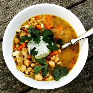barley garbanzo soup bowl