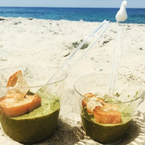 green gazpacho on the beach